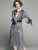 ieftine Rochii Damă-Pentru femei Vintage / Sofisticat Sleeve Flare Sirenă Rochie - Dantelă / Funde, Floral Midi