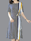 رخيصةأون فساتين موسم الصيف-ميدي Lace-up / طباعة, هندسي - فستان غمد أناقة الشارع / معقد للمرأة