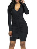 cheap Socks & Hosiery-Women's Street chic Bodycon / Sheath Dress - Solid Colored / Color Block Ruched / Split
