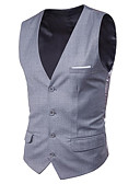 cheap Men's Blazers & Suits-Men's Business / Basic Vest - Solid Colored, Patchwork