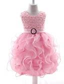 hesapli Çocuk Nedime Elbiseleri-Bebek Genç Kız Actif Parti / Dışarı Çıkma Geometrik Desen Kolsuz Diz-boyu Elbise / Sevimli
