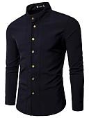 hesapli Erkek Gömlekleri-Erkek Pamuklu Gömlek Fırfırlı / Bağcık / Kırk Yama, Solid Temel AB / ABD Beden Siyah