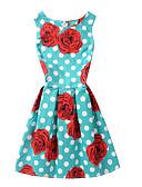 cheap Fashion Belts-women's skater dress - polka dot floral above knee