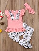 povoljno Obiteljski komplet odjeće-Dijete koje je tek prohodalo Djevojčice Aktivan Ulični šik Dnevno Praznik Print Kolaž Peplum Mašna Nabori Bez rukávů Kratkih rukava Regularna Normalne dužine Komplet odjeće Blushing Pink