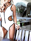 preiswerte Einteilie Badeanzüge-Damen Grundlegend Gurt Weiß Rote Gelb Bandeau Tanga-Bikinihose Einteiler Bademode - Solide S M L Weiß / Sexy