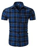 cheap Men's Shirts-Men's Basic Shirt - Plaid Black & Red