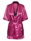 זול גופים סקסיים-בגדי ריקוד נשים סקסית מדים וחלוקים Nightwear דפוס, רקמה / צווארון V
