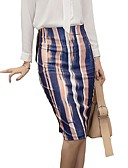 cheap Gloves-Women's Street chic Pencil Skirts - Striped