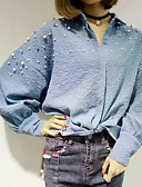 tanie T-shirt-Koszula Damskie Vintage, Frędzel Bawełna Kołnierzyk koszuli Solidne kolory Bufka Czarno-biały