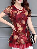 baratos Blusas Femininas-blusa feminina - gola redonda geométrica