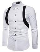 cheap Men's Shirts-Men's Party Street chic / Punk & Gothic Cotton Shirt - Color Block Black & Red / Black & White, Lace up / Long Sleeve