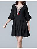 ieftine Rochii Plus Size-Pentru femei De Bază / Șic Stradă Sleeve Flare Tricou Rochie - Peteci, Mată Sub Genunchi