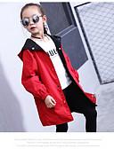 hesapli Kız Çocuk Ceketleri ve Montları-Çocuklar Genç Kız Siyah & Kırmızı Desen Uzun Kollu Trençkot / Sevimli