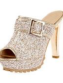 זול שמלות נשים-בגדי ריקוד נשים נעליים נצנצים אביב קיץ חדשני / רצועה אחורית סנדלים עקב סטילטו בוהן מציצה אבזם זהב / לבן / שחור / מסיבה וערב