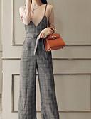 זול שמלות נשים-שרוכים לכל האורך, אחיד / משובץ דמקה - סרבלים בסיסי בגדי ריקוד נשים