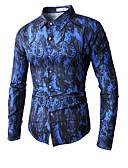 ieftine Blazer & Costume de Bărbați-Bărbați Cămașă Club Bumbac De Bază - Floral / Bloc Culoare Imprimeu Tropical Leaf / Manșon scurt / Manșon Lung