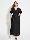 baratos Vestidos Longos-Mulheres Tamanhos Grandes balanço Vestido Sólido Decote V Cintura Alta Longo