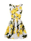 cheap Women's Dresses-Women's Holiday Cotton Slim Swing Dress - Floral