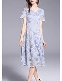 זול שמלות נשים-בגדי ריקוד נשים מידות גדולות מכנסיים - פרחוני פול / צווארון V