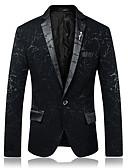 ieftine Blazer & Costume de Bărbați-Bărbați Petrecere / Zilnic Primăvara & toamnă Regular Blazer, Bloc Culoare Rever Peaked Manșon Lung Poliester Albastru piscină / Negru / Roșu Vin XL / XXL / XXXL / Ocazional afaceri