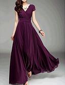 זול חולצה-בגדי ריקוד נשים רזה מכנסיים - אחיד מותניים גבוהים סגול / מקסי / V עמוק / ליציאה / סקסית