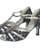 abordables Tocados de Moda-Mujer Zapatos de Baile Latino PU Tacones Alto Tacón Carrete Personalizables Zapatos de baile Plateado / Rojo / Bronce