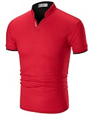 cheap Men's Polos-Men's Basic Cotton Polo - Solid Colored Patchwork / Short Sleeve