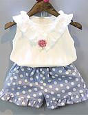Χαμηλού Κόστους Σετ ρούχων για κορίτσια-Νήπιο Κοριτσίστικα Βασικό Μονόχρωμο Αμάνικο Πολυεστέρας Σετ Ρούχων Θαλασσί