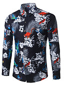 tanie Męskie koszule-Puszysta Koszula Męskie Biznes / Boho Bawełna Praca Kwiaty / Długi rękaw