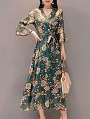 baratos Vestidos Estampados-Mulheres Para Noite Delgado balanço Vestido - Estampado, Floral Decote V Cintura Alta Longo