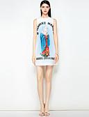 זול שמלות נשים-מעל הברך חרוזים, פרחוני - שמלה גזרת A סגנון רחוב בגדי ריקוד נשים
