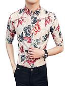 tanie Koszulki i tank topy męskie-Koszula Męskie Bawełna / Rayon Impreza / Klubowa Szczupła - Kwiaty / Wybierz rozmiar o jeden większy od Twojego normalnego rozmiaru.