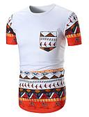 preiswerte Herren T-Shirts & Tank Tops-Herrn Geometrisch - Grundlegend Sport Baumwolle T-shirt, Rundhalsausschnitt Schlank / Kurzarm / Sommer