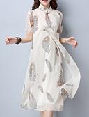 tanie Print Dresses-Damskie Wzornictwo chińskie Zmiana Sukienka - Geometric Shape, Nadruk Kołnierz stawiany Midi