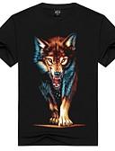 ieftine Maieu & Tricouri Bărbați-Bărbați Rotund - Mărime Plus Size Tricou Bumbac De Bază - Animal Imprimeu / Manșon scurt / Vară