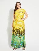 billige Damekjoler-Dame Gatemote T skjorte Kjole - Blomstret Maksi