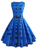 baratos Vestidos de Mulher-Mulheres Vintage Bainha Vestido Animal Altura dos Joelhos