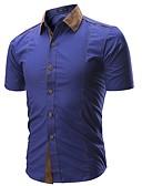 billige Herreskjorter-Tynn Skjorte Herre - Ensfarget Forretning / Grunnleggende Arbeid / Kortermet / Sommer