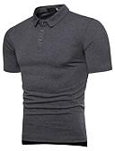 baratos Pólos Masculinas-Homens Polo Básico Sólido Algodão Colarinho de Camisa Delgado / Manga Curta