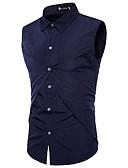 abordables Camisas de Hombre-Hombre Activo / Chic de Calle Algodón Camisa Un Color Negro L / Sin Mangas / Verano / Otoño