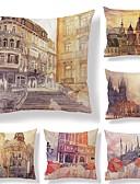 abordables Vestidos de Dama de Honor-6 PC Textil / Algodón / Lino Funda de almohada, Art Decó / Arquitectura / Estampado Cuadrado / Estilo europeo