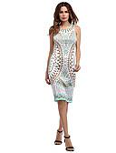 tanie Sukienki-Damskie Podstawowy Bawełna Szczupła Spodnie - Geometric Shape / Kolorowy blok Wysoka talia Biały / Święto / Wyjściowe
