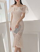cheap Women's Dresses-Women's Going out Slim Trumpet / Mermaid Dress - Solid Colored Lace Off Shoulder / Summer