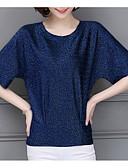 baratos Camisetas Femininas-t-shirt feminina - decote redondo em cor sólida