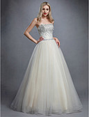 זול שמלות נשף-נסיכה סטרפלס עד הריצפה טול גב פתוח ערב רישמי שמלה עם חרוזים / פרטים מקריסטל על ידי TS Couture®