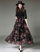 ieftine Bluză-Pentru femei Boho Zvelt Pantaloni - Floral / Geometric Dantelă / Eliminat / Franjuri Talie Înaltă Negru / Petrecere
