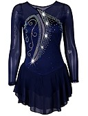 cheap Ice Skating Dresses , Pants & Jackets-Figure Skating Dress Women's Ice Skating Dress Dark Navy Stretch Yarn Stretchy Professional / Competition Skating Wear Quick Dry, Anatomic Design, Handmade Classic Long Sleeve Performance / Ice