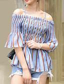 ieftine Neopren-Pentru femei Cu Bretele Bluză Ieșire Dungi / Manșon flare / Stripe fină