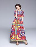 abordables Vestidos de Mujeres-Mujer Vintage Corte Swing Vestido - Estampado, Geométrico Maxi
