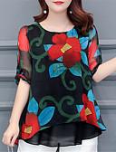 ieftine Bluză-bluza pentru femei - gât rotund floral